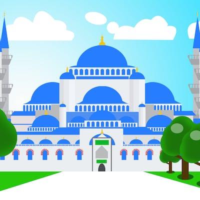 تصميم ورسم كرتوني للمسجد السليماني في تركيا