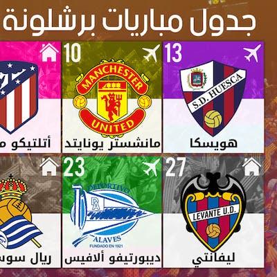 جدول مباريات برشلونة لشهر أفريل