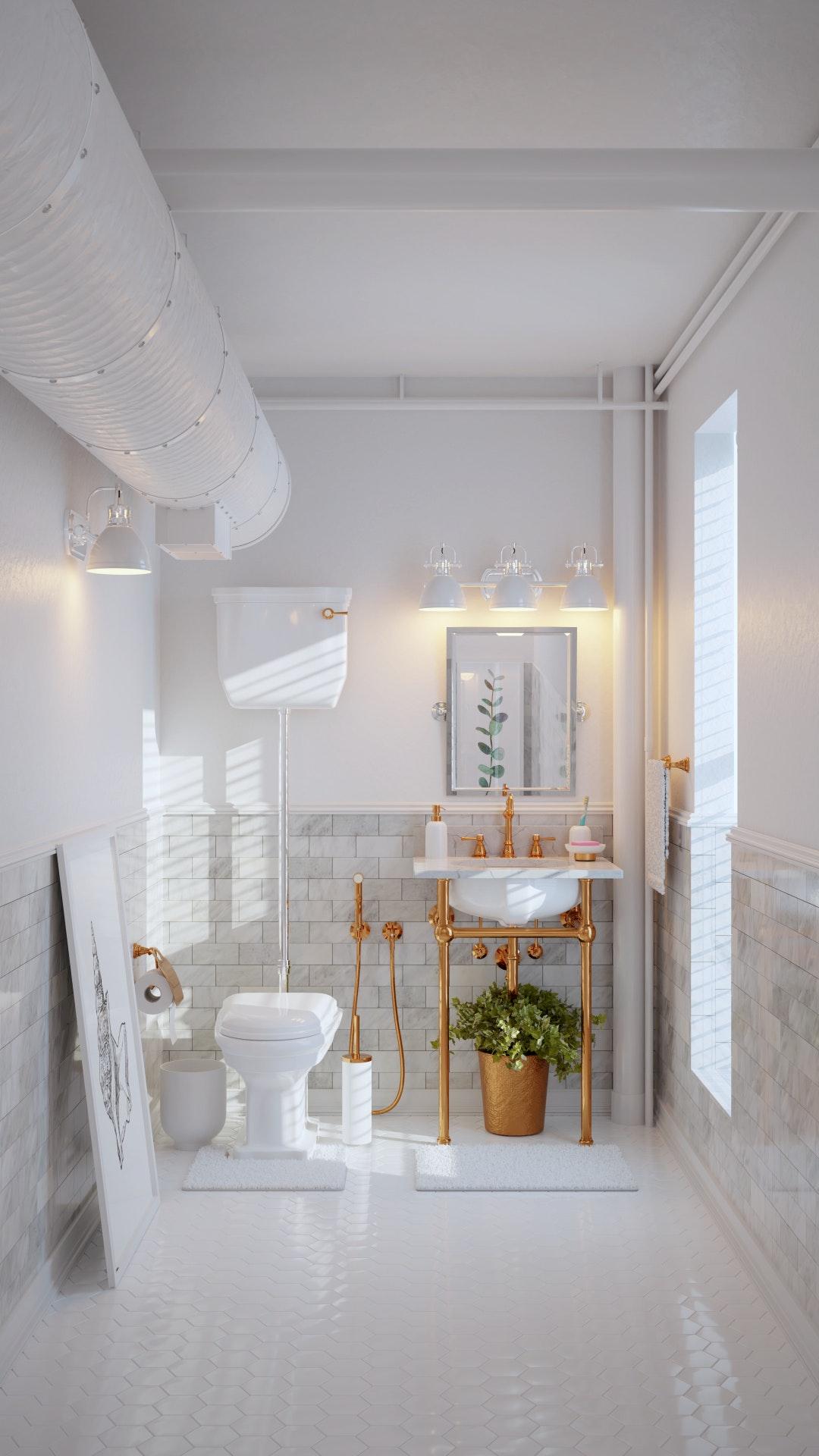 white bathroom/ blender